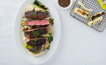 Coffee Crusted Prime Rib Steaks with Grilled Fennel and Leeks