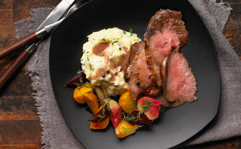 Roast Beef with Peppercorn Wine Sauce and Make-ahead Glazed Beets