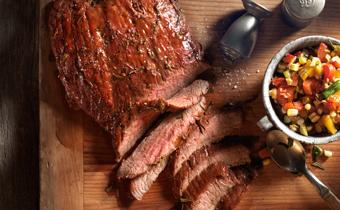 Grilled Flank Steak with Olive Vinaigrette