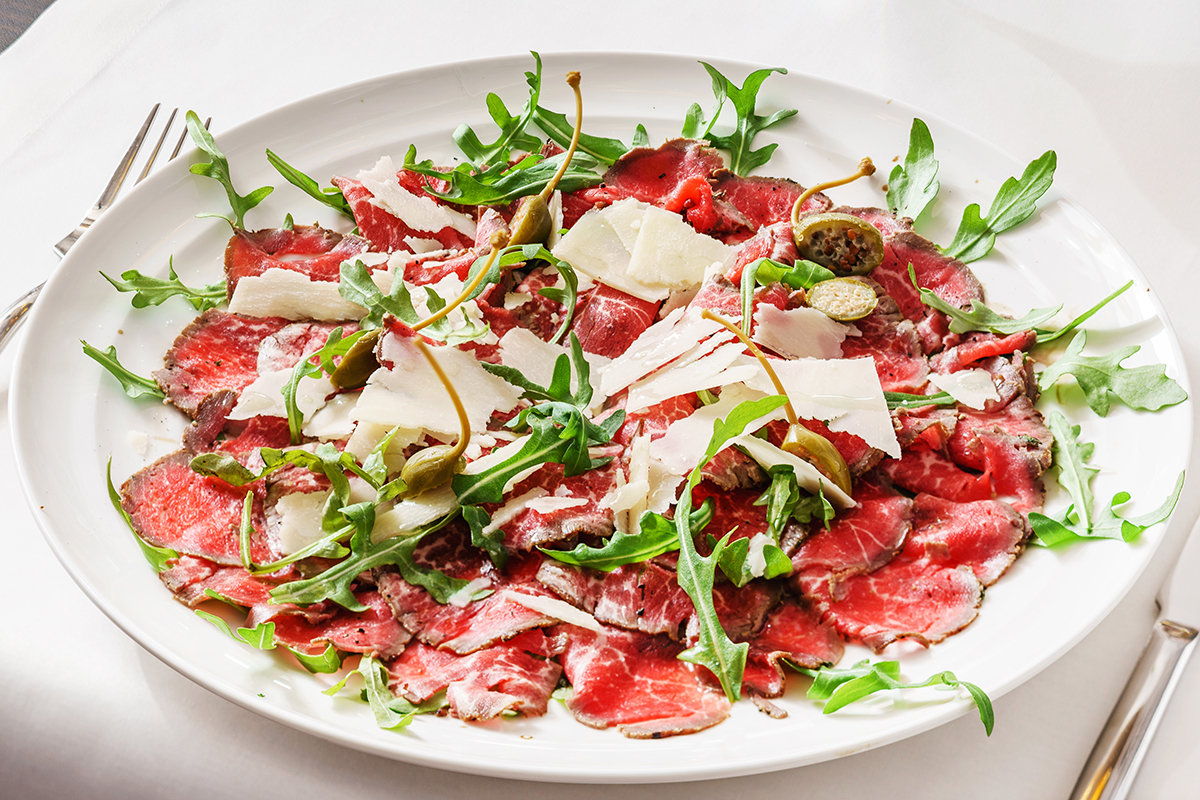 Beef Carpaccio with Fresh Basil Pesto