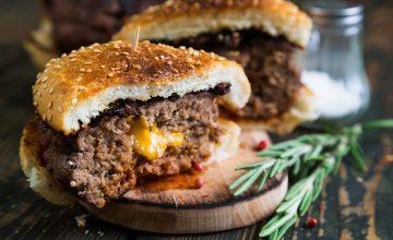 Cheese Curd Stuffed PEI Beef Chuck Burgers