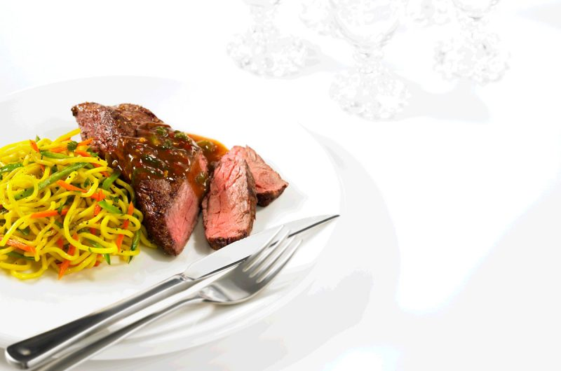 Pan-seared Beef Grilling Steak with Chili-Maple Sauce