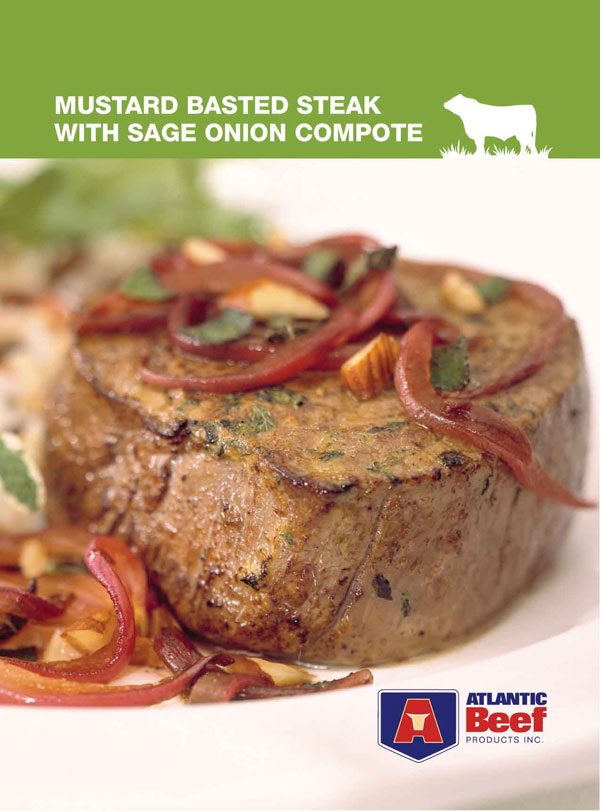 Mustard Basted Steak with Sage Onion Compote